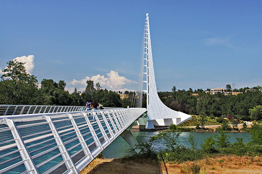 Sundial Bridge Photograph - Sundial Bridge - Sit And Watch How Time Passes By by Christine Till