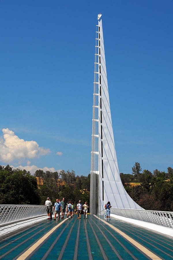 Sundial Bridge Photograph - Sundial Bridge - This Bridge Is A Glass-and-steel Sculpture by Christine Till