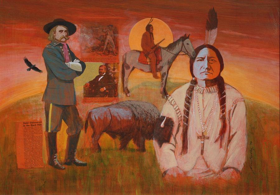 Sitting Bull Painting - Sundown of 1876 by J W Kelly