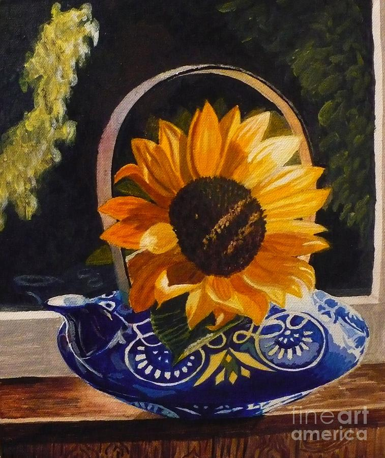 Sold Painting - Sunflower In Blue by Janet McDonald