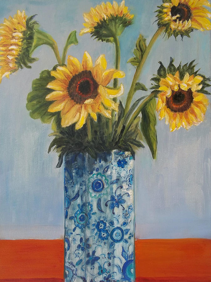Sunflower In Blue Vase Painting By Eydie Paterson