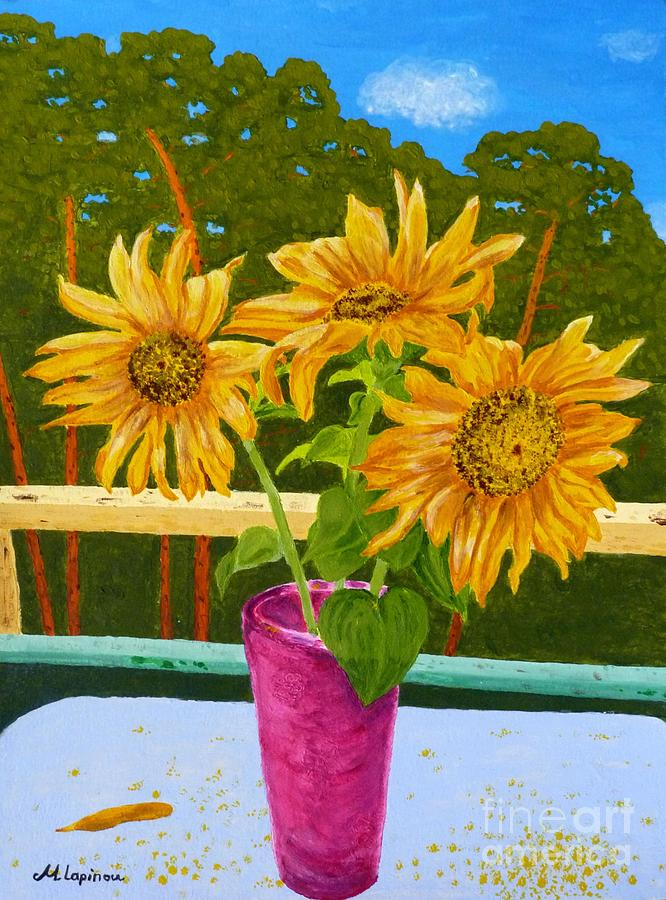 Sunflower Painting - Sunflowers And Pines by Maria Malevannaya