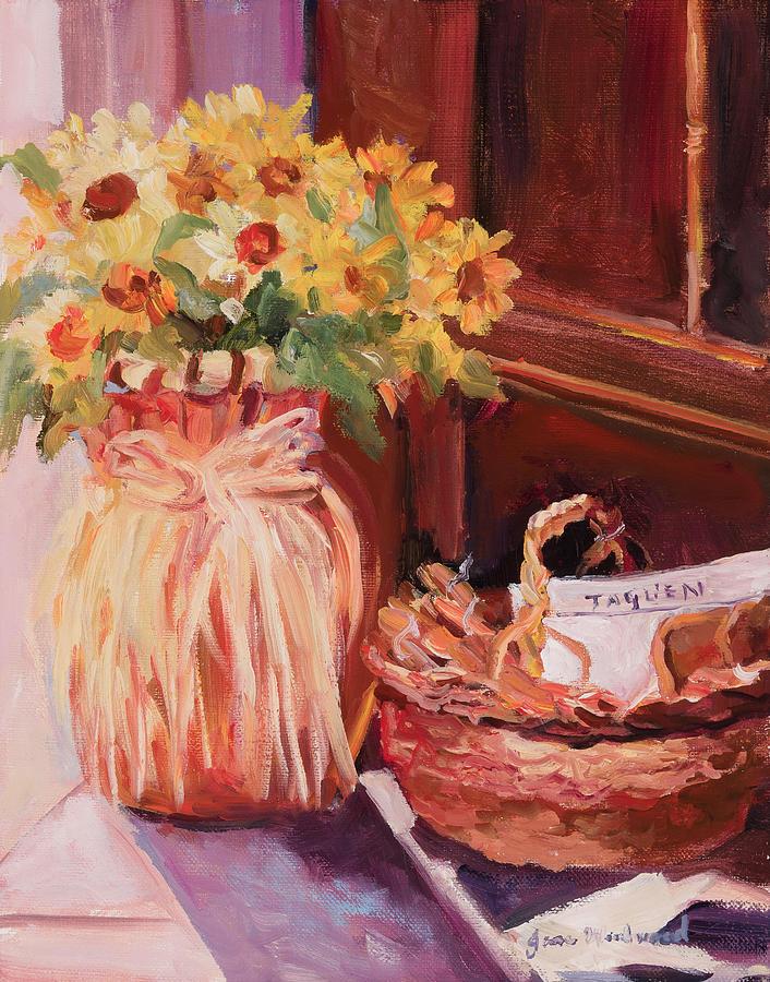 Jane Woodard Painting - Sunflowers And The Breadbasket by Jane Woodward