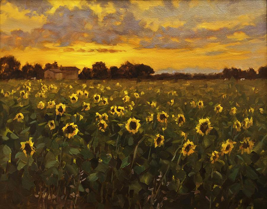 Landscape Painting - Sunflowers by Carol Mayne