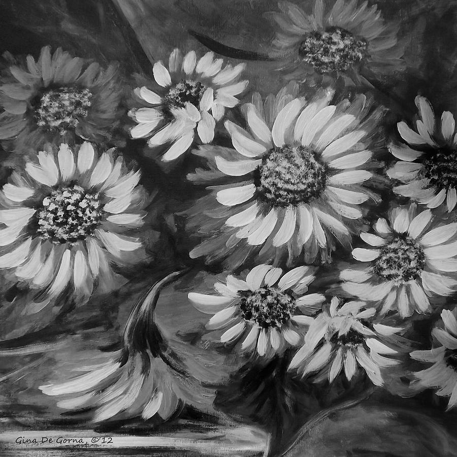 Sunflowers In Black And White Painting By Gina De Gorna