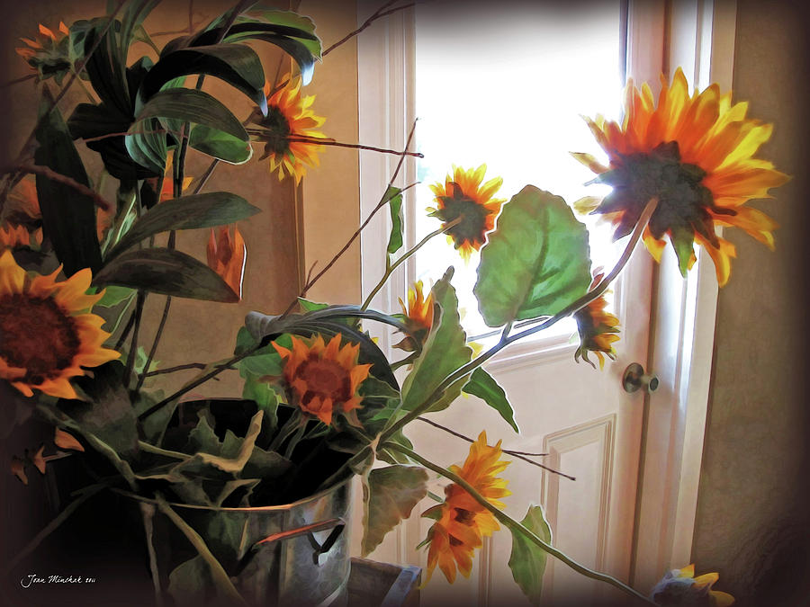 Floral Photograph - Sunflowers In Pots by Joan  Minchak