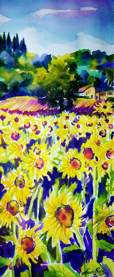 Tuscany Painting - Sunflowers Of Tuscany  Sold Original Prints Available by Therese Fowler-Bailey