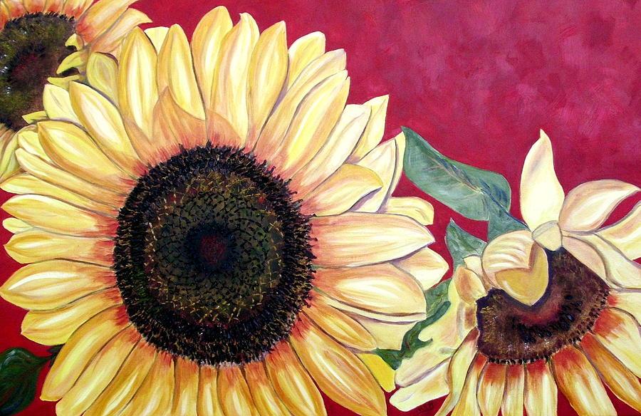Sunflower Painting - Sunflowers Three  by Maria Soto Robbins