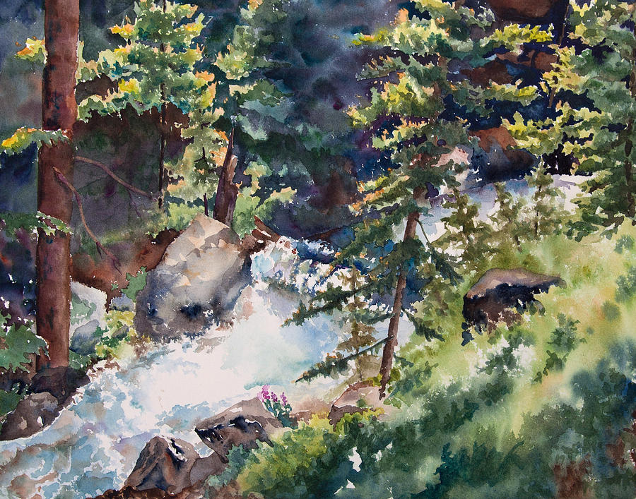 Painting Painting - Sunlight And Waterfalls by Amy Caltry