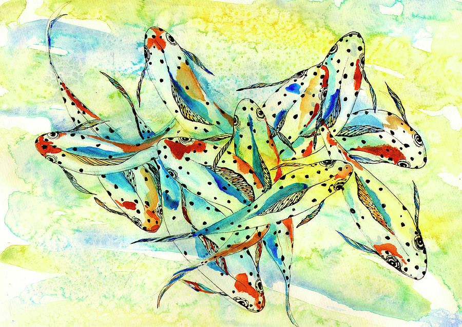 Fish Painting - Sunlight by Linda Palmer