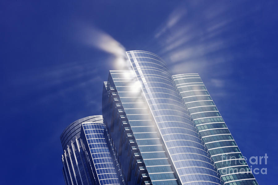 Architectural Detail Photograph - Sunlight Reflected Off An Office Building by Jeremy Woodhouse