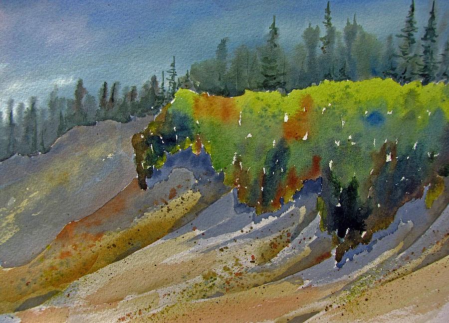 Lichen Painting - Sunlit Lichen by Ramona Kraemer-Dobson
