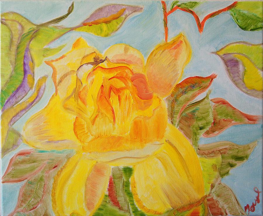 Flowers Painting - Sunlit Rose by Meryl Goudey