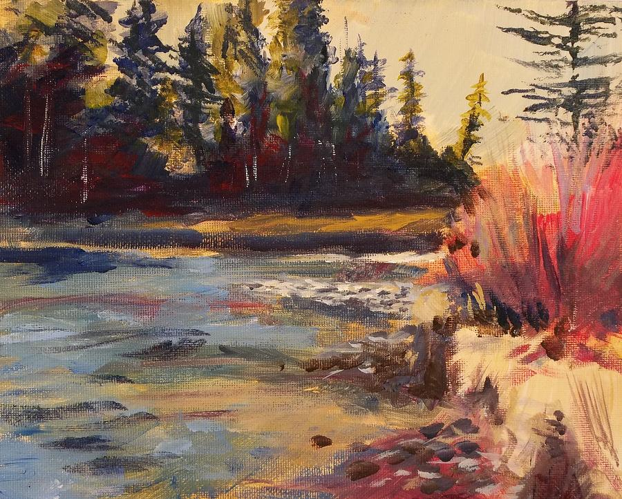 River In Colorado Painting - Sunny Colorado Wooded Stream by Walt Maes