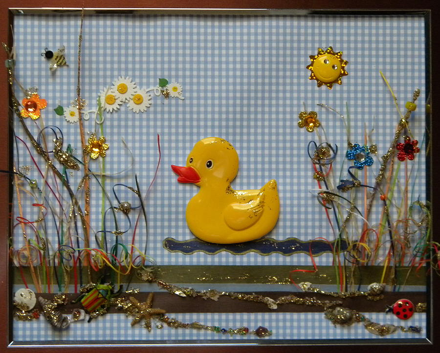 Rubber Mixed Media - Sunny Duck by Gracies Creations