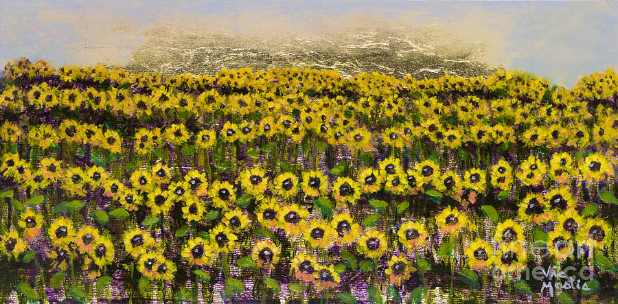Sunflower Painting - Sunny Field Series With Gold Leaf By Vic Mastis by Vic  Mastis