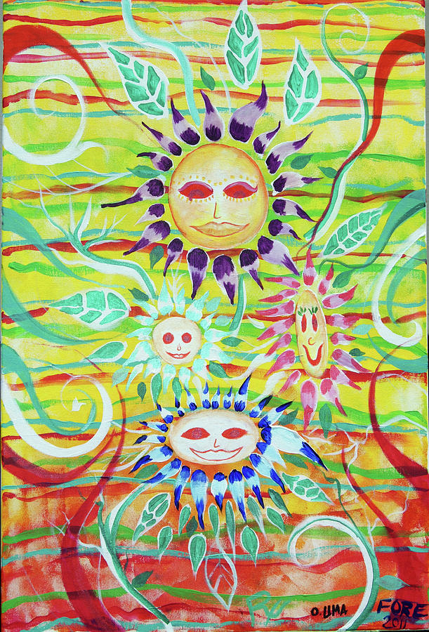 Sunflower Painting - Sunny Flowers by Ottoniel Lima Lorinda Fore and Rex Donato