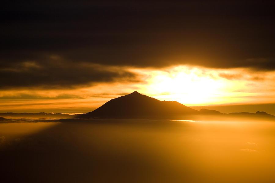 Sunrise Photograph - sunrise behind Mount Teide by Ralf Kaiser