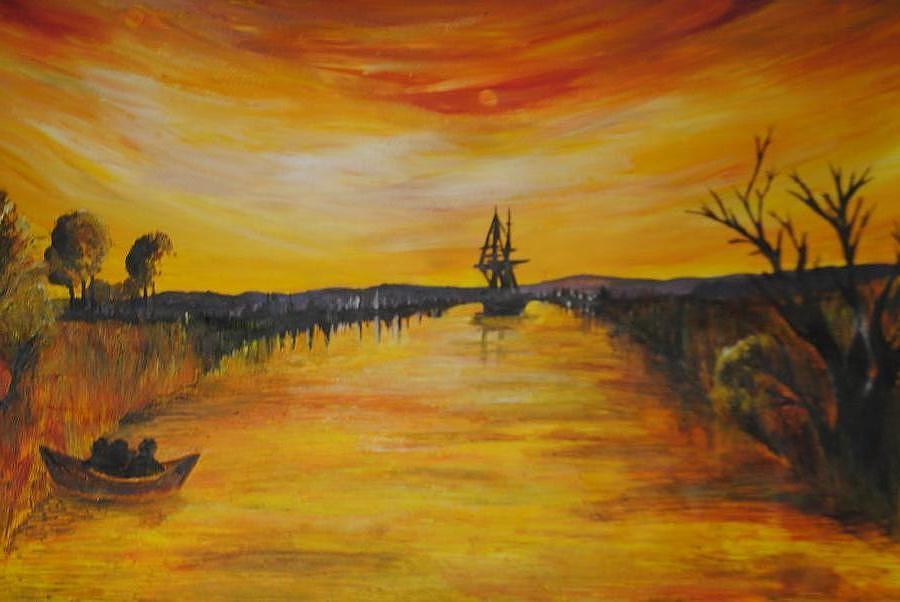 Painting - Sunrise Fisherman by Lauren Brown
