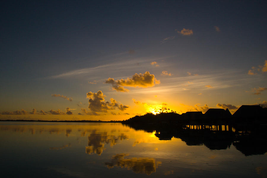 Bora Photograph - Sunrise in Bora Bora with Overwater Bungalows by Benjamin Clark