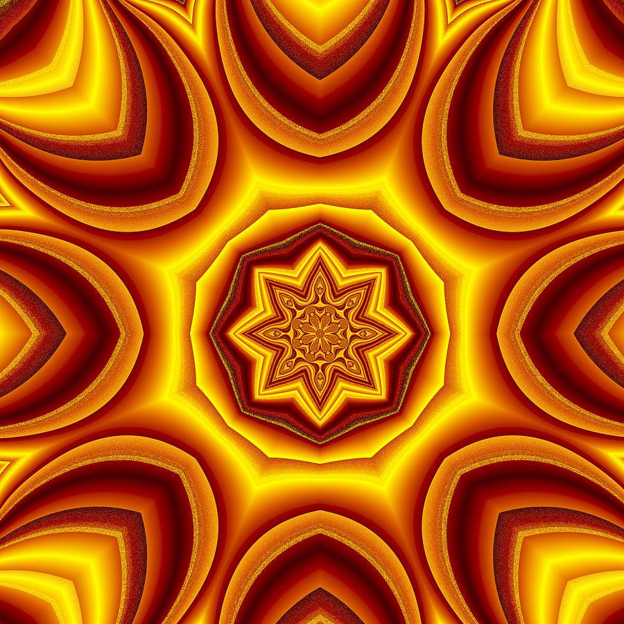 Mandala Digital Art - Sunrise Kaleido by Mario Carini