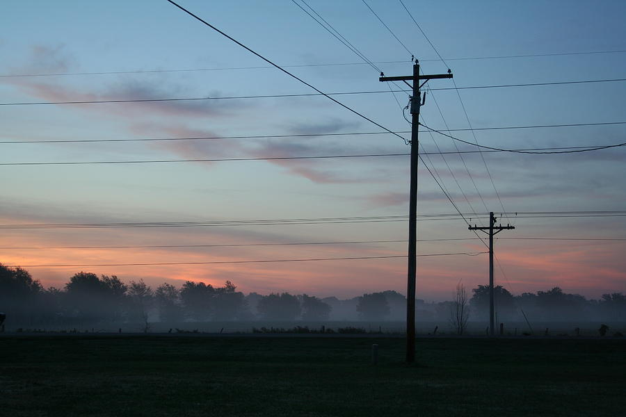 Sunrise Mist In Rural Oklahoma With Telephone Wires Photograph by ...