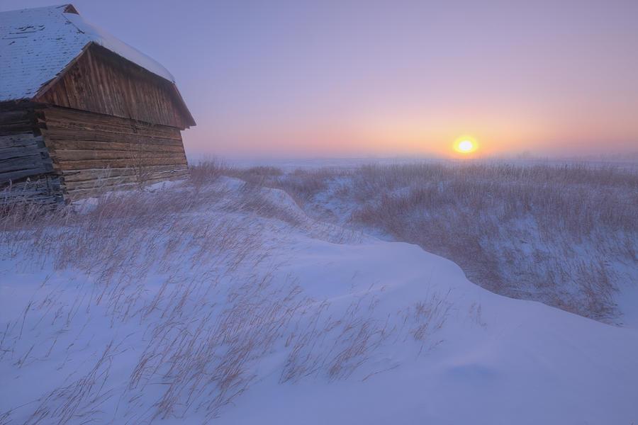 Alberta Photograph - Sunrise On Abandoned, Snow-covered by Dan Jurak