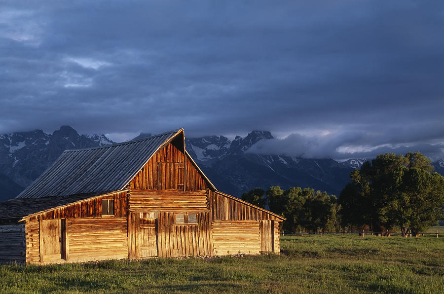 Closed Photograph - Sunrise On Old Wooden Barn On Farm by Axiom Photographic