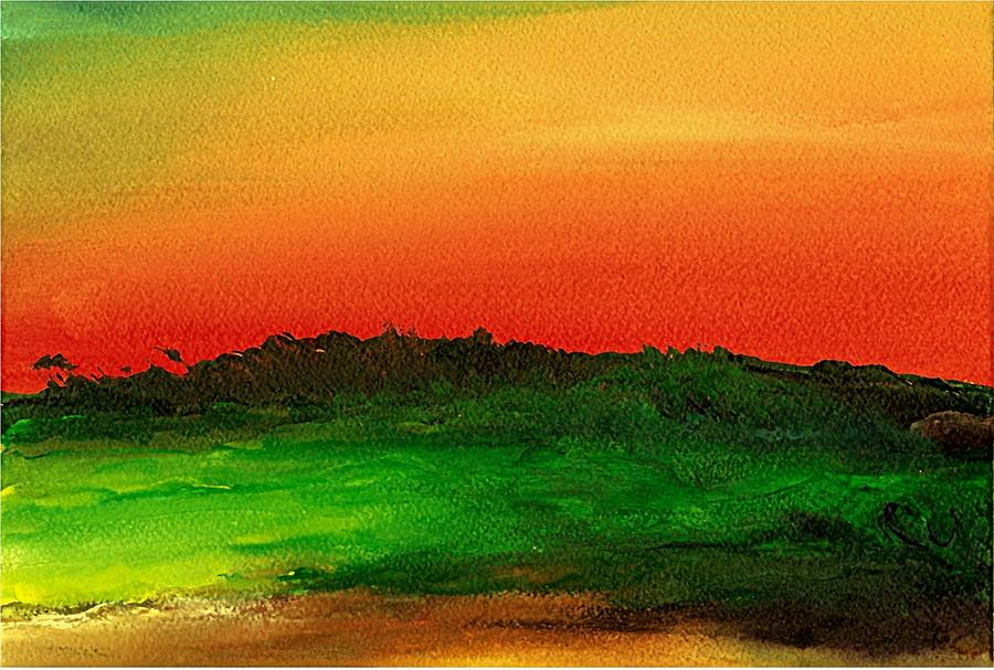 Hawaii Painting - Sunrise Over Cane Field by Rob M Harper