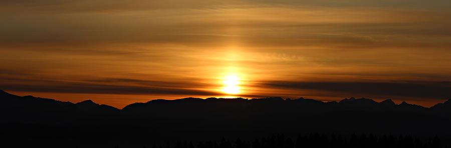 Dawn Photograph - Sunrise Over Cascade Mountains by Paul Fell