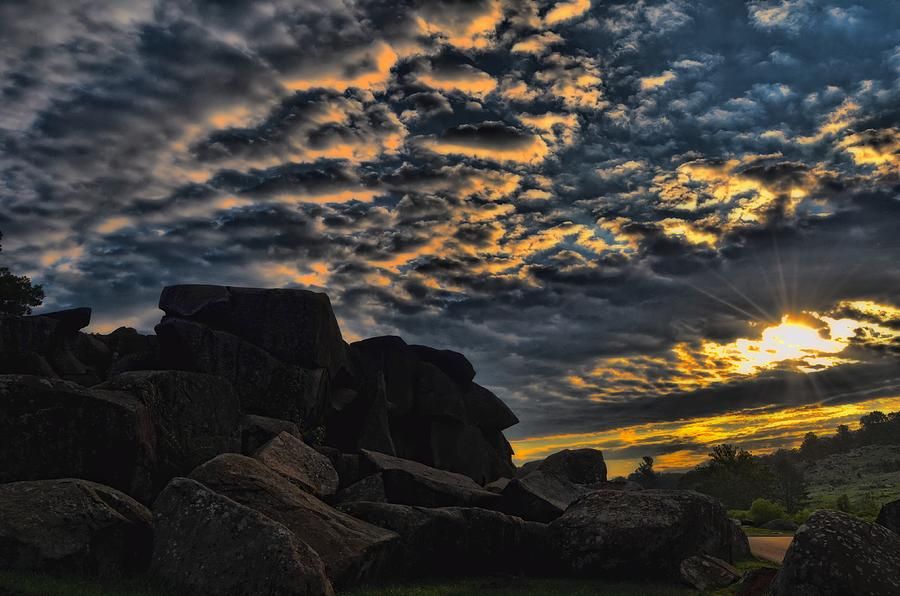 Sunrise Photograph - Sunrise Over Little Round Top by Dave Sandt