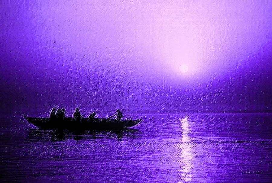 Sunset Digital Art - Sunrise Rowing by Piety Dsilva