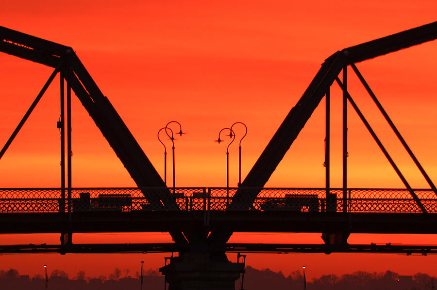 Walnut Street Bridge Photograph - Sunrise Walnut Street Bridge by Tom and Pat Cory