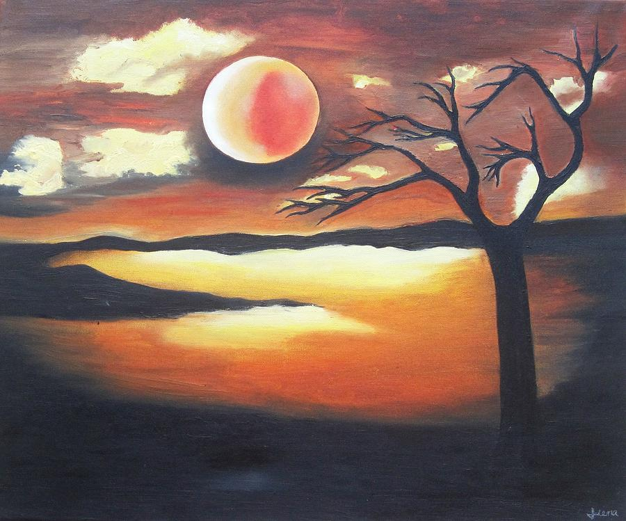Sunset Painting - Sunset - Oil Painting by Rejeena Niaz