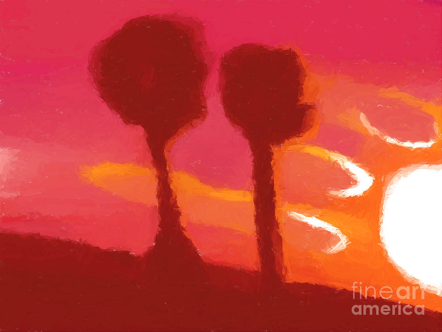 Sunset Painting - Sunset Abstract Trees by Pixel Chimp