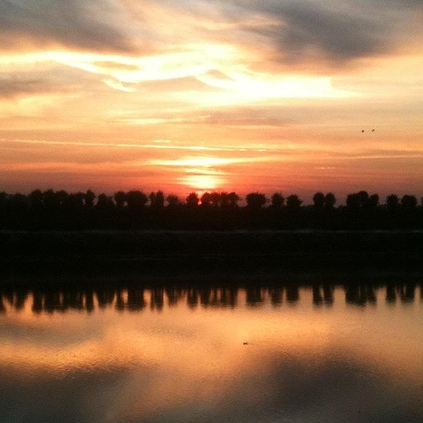 Riverview Photograph - Sunset Across The River - No Filter by Just Berns