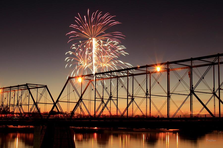 Bridge Photograph - Sunset And Fireworks by Deborah  Crew-Johnson