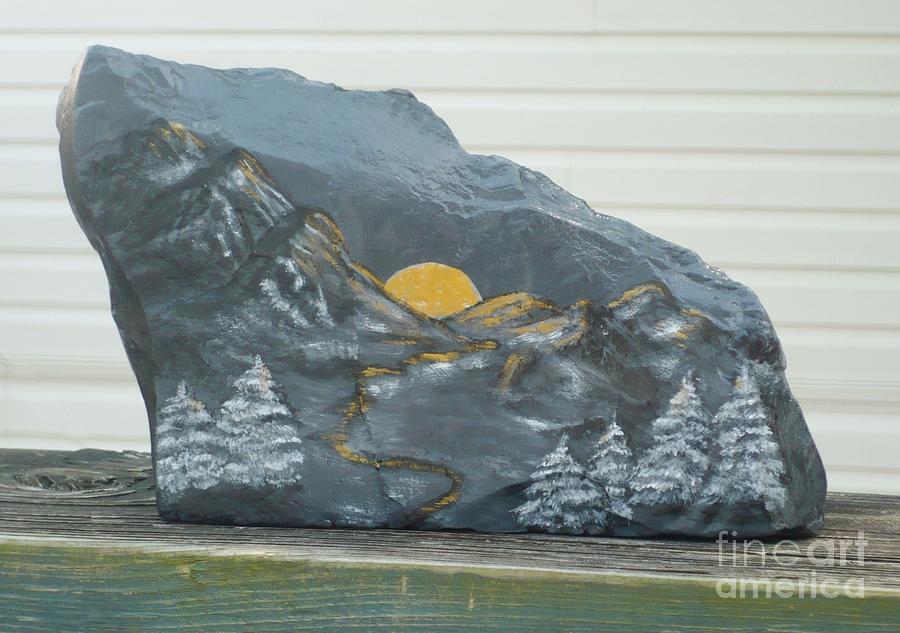 Rock Painting - Sunset And Mountains by Monika Shepherdson