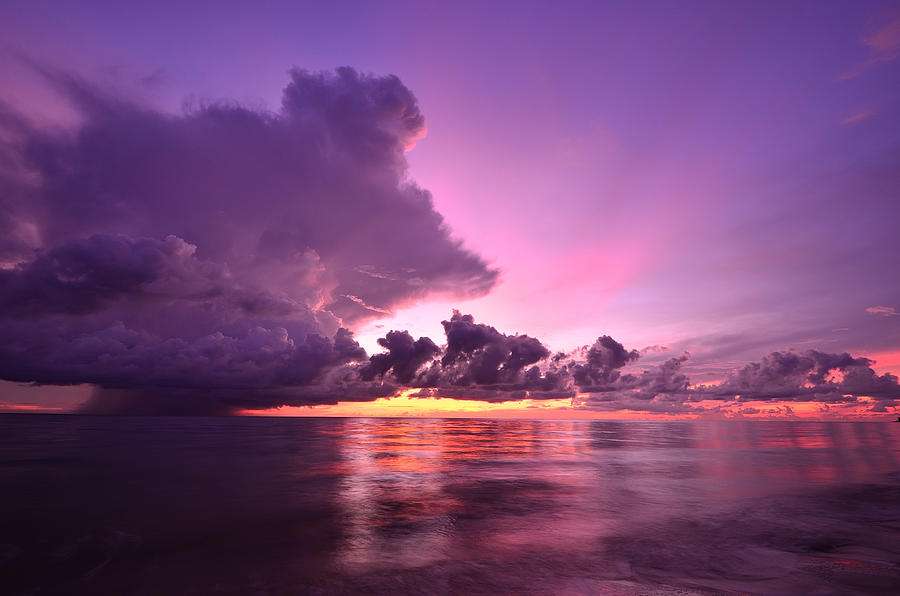 Sunset And Storm Front With Rain Over The Sea Photograph