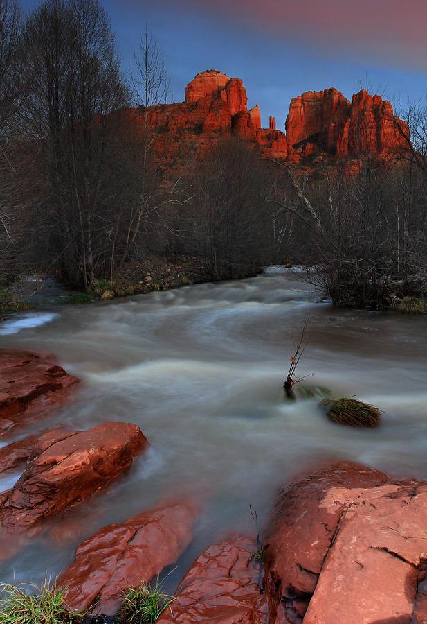 Oak Creek Photograph - Sunset At Cathedral Rock by Dave Sribnik