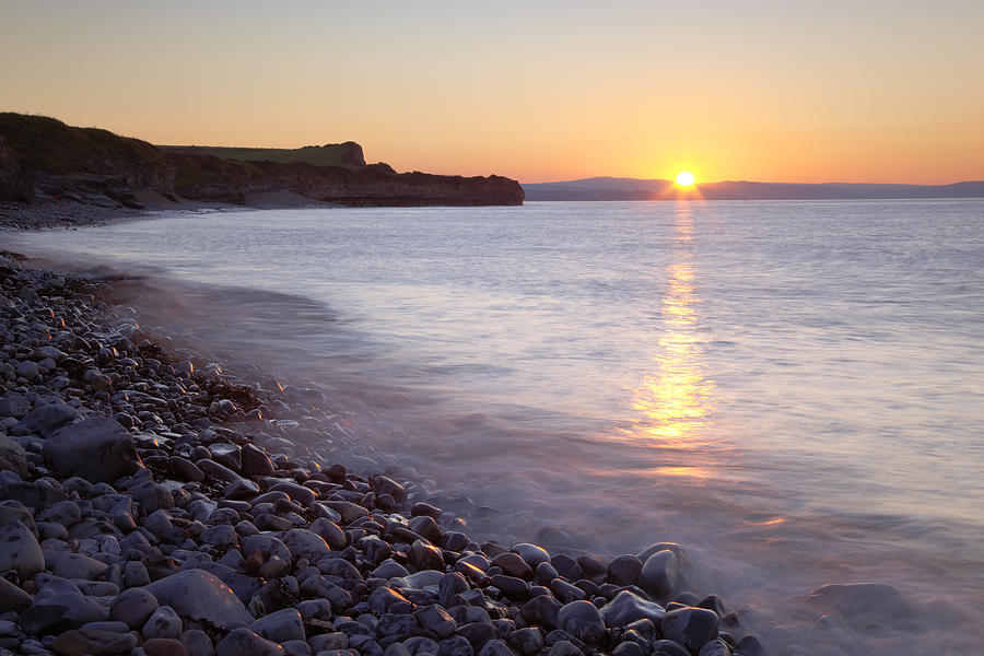 Horizontal Photograph - Sunset At Kilve Beach, Somerset by Nick Cable