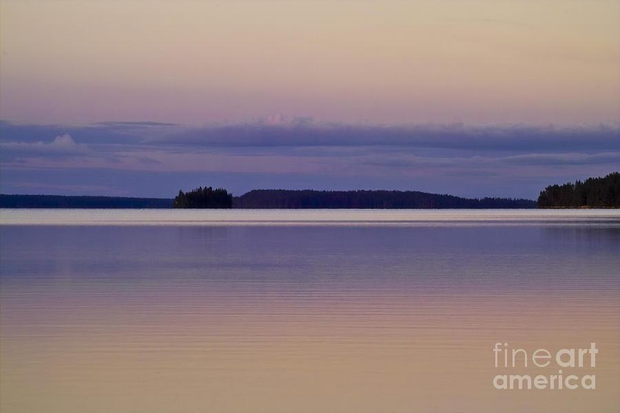 Water Photograph - Sunset At Lake Muojaervi by Heiko Koehrer-Wagner
