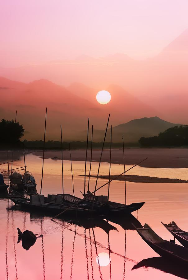Abstract Photograph - sunset at Mae Khong river by Setsiri Silapasuwanchai