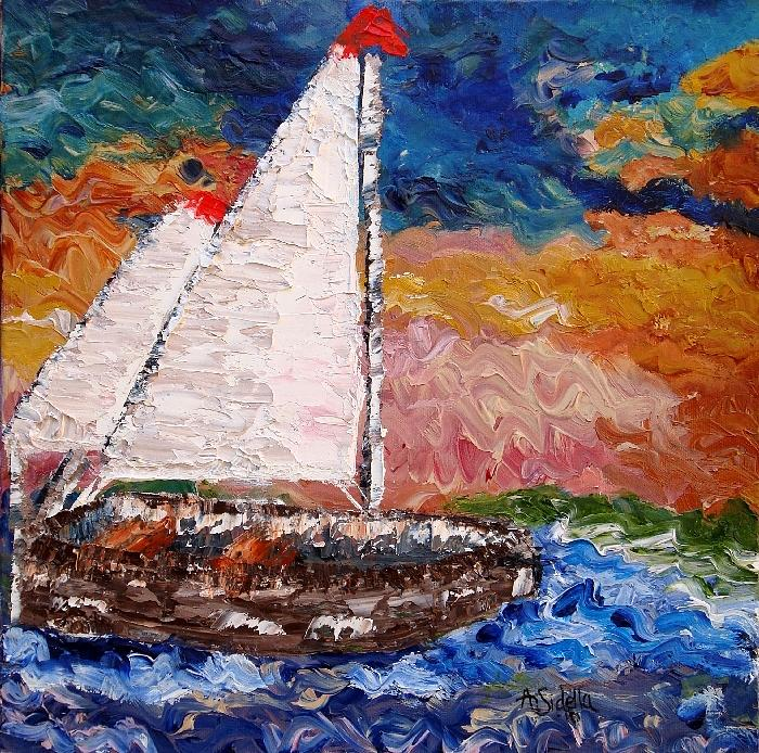 Sailboat Painting - Sunset At Sea by Annamarie Sidella-Felts