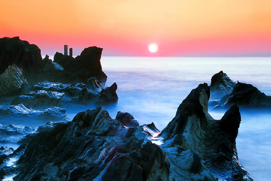 Horizontal Photograph - Sunset At Sea With Rocks In Foreground by Midori Chan-lilliphoto