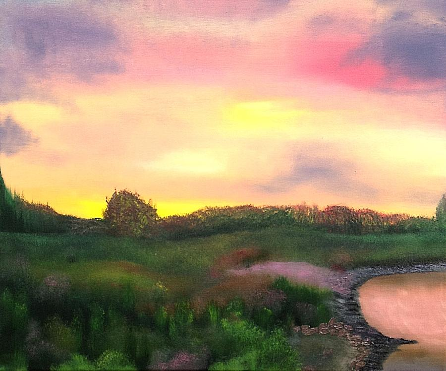 Landscape Painting - Sunset At The Lake by Amity Traylor