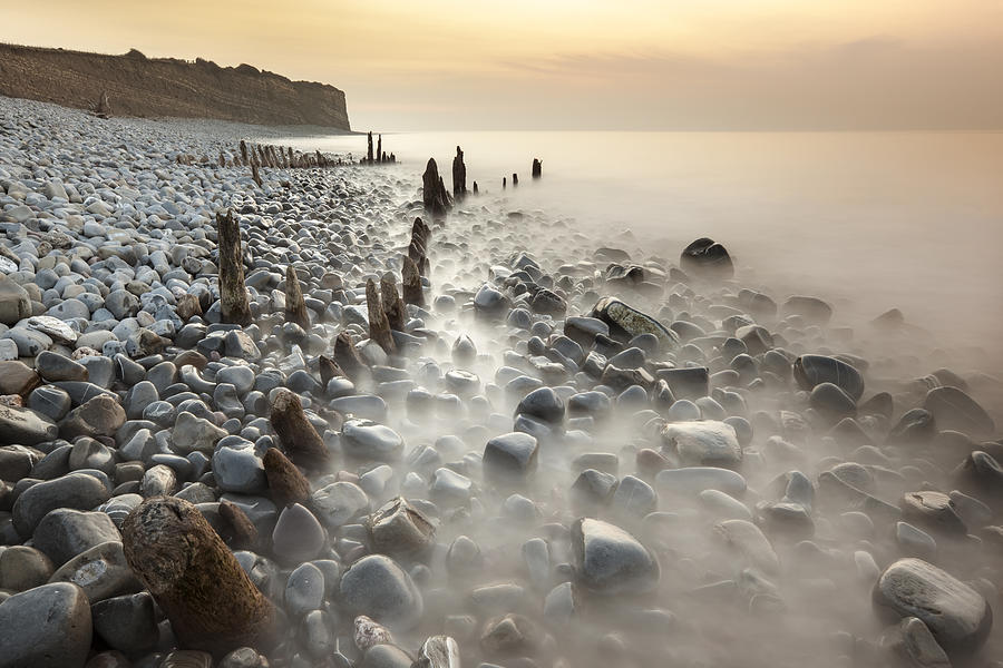 Horizontal Photograph - Sunset At The Remains Of Lilstock Pier by Nick Cable