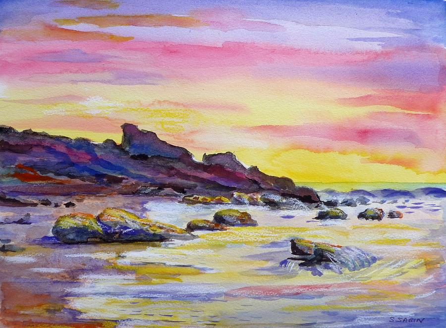 Sunset Beach Painting By Saga Sabin