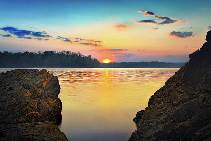 Tennessee River Photograph - Sunset Between The Rocky Shore by Steven Llorca
