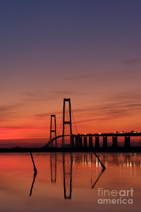 Water Photograph - Sunset By The Bridge by Jorgen Norgaard